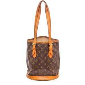 Louis Vuitton Canvas Leather Petit Bucket PM Bag